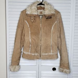 Wilsons Leather Suede Faux Fur Lined/Accented Coat